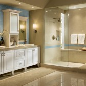 Clean, white Thermofoil KraftMaid Bathroom cabinetry